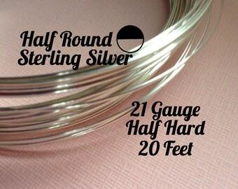 15% Off Sale! Sterling Silver Wire, HALF ROUND 21 Gauge, Half Hard, 20 Feet, WHOLESALE