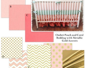 Coral, Blush Pink and Metallic Gold Custom Baby Girl Crib Bedding Set - The Ombre Glitz Collection