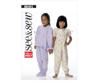 See & Sew B6401 - Toddlers'/Children's Zip-Front Top and Jumpsuit, and Pull-On Pants