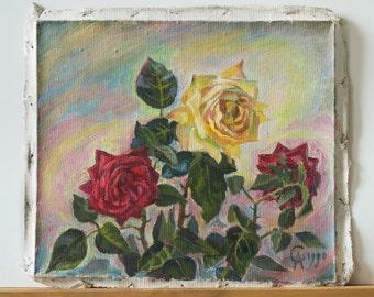 Beautiful ROSES oil painting Still life  Ukraine ORIGINAL art