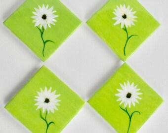 Daisy-Ceramic Coasters-Epoxy Resin Finish-set of four