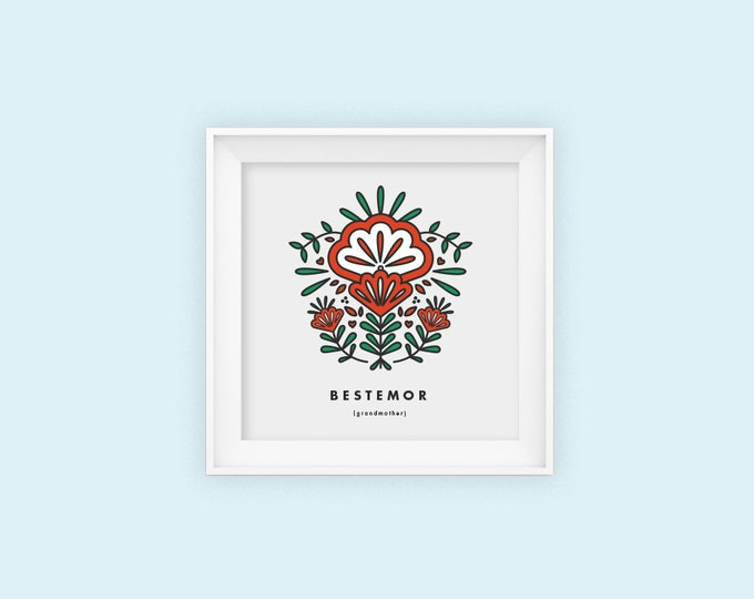 Grandmother, Bestemor, square print, Scandinavian, Mothers day, 8x8, Wall art, Norwegian, folk art