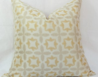 Gold & ivory pillow cover.  Waverly Stardust jacquard decorative pillow cover 20x20 pillow cover Gold silver pillow