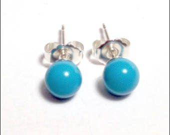 Turquoise - 6mm Round Studs Earrings