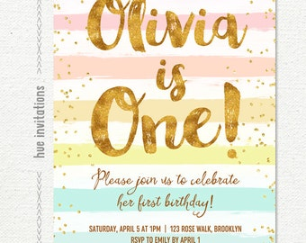 rainbow 1st birthday invitation for girl, pastel stripes gold glitter confetti 1st birthday party invite, printable digital invitation