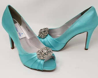 Blue Wedding Shoes with Vintage Style Design Blue Bridal Shoes - Over 100 Color Choices to Pick From Dyeable Bridal Shoes Bridesmaid Shoes