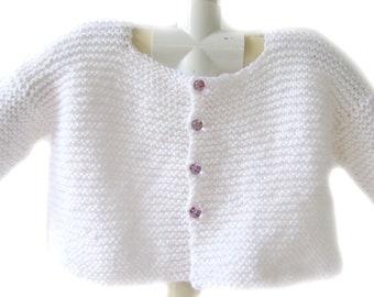 KSS Handmade White Knitted Toddler Sweater/Jacket (2 Years/3T) SW-274