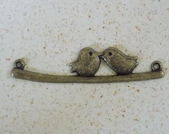 Bronze couple birds branch connector