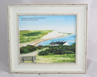 Coastguard Cottages Shabby Chic Framed Print