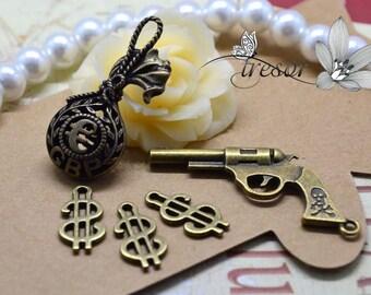 set of 5 QWP058 096 156 Bronze Metal charms, purse, Pistol $