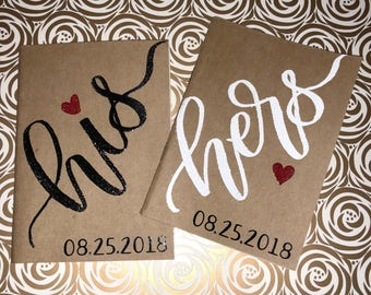 Vows Notebooks (Set of 2) /Mr and Mrs / Vow books / Wedding / Personalized Names / Wedding Gift / Bride and Groom
