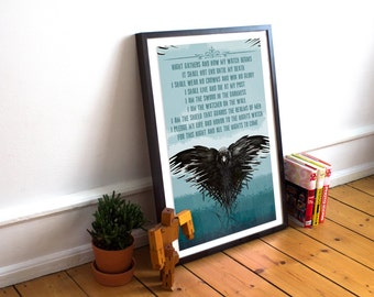 Nights Watch Oath Print - Game of Thrones - Typography - Wall Art Print  - Game of Thrones Quotes - Game of Thrones Prints