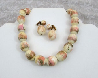 "Marvella choker Necklace & clip earrings - Unusual  pink and gold ""Painted"" look-  1960s"