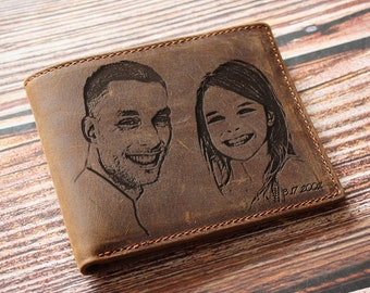 Photo engraved wallet for men, gift for father, gift for dad, daddy gift, gift from wife, gift from daughter, unique gift, one of a kind