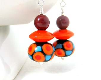Colorful Geometric Earrings, Orange Black Red Turquoise Earrings, Statement Earrings, Lampwork Glass Earrings, Retro Earrings, Bright Colors