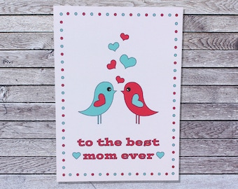 Love Birds Mother's Day Card for Wife Girlfriend / Love Mothers Day Card