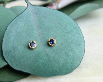 sapphire stud earrings 14k yellow gold, conflict free, milgrain sapphire studs, handmade earrings, gift for women, minimalist holiday gift