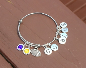 Bangle - Tailgating - Football - Team Colors - Swarovski crystals - Adjustable bangle - Team name up to 6 letters - Graduation-Mother's Day