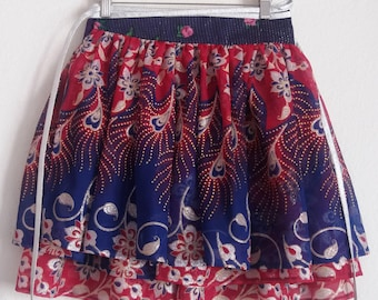 Skirt multi-tailles 4 metres of sheer printed polyester ruffles, wrapped around the waist, fits all