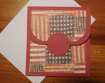 Patriotic Gift Card - Flag  Gift Card Holder - Honor Flight Gift Card - Patriotic Money Card -  Stars Gift Card - 4th of July Gift Card  -
