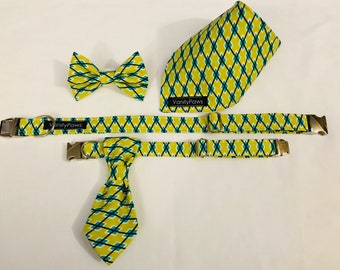 Rodger Collar + Matching Lead + Bowtie + Bandana + Doggie Suit Tie