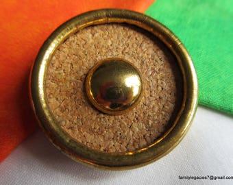 0209 - Cork Set in Brass XL Vintage Button