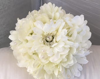 Beautiful Artificial Bridal Bouquet Ivory White Gerbera and Hydrangea Wedding Flowers