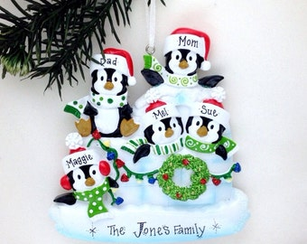 5 Family Penguin Ornament / Personalized Christmas Ornament / Family of Five Ornament