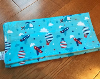 Up in the Sky Burp Cloths with Airplanes, Hot Air Balloons, Stars and Clouds