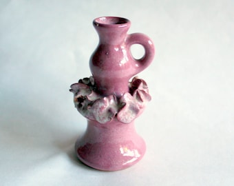 Vintage Ceramic Vase, Retro Decor, Art Ceramic, Bud Vase, Pink Vase, 1970s Decor