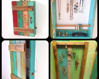 Free shipping / Wood Jewelry Organizer Wall Mount Door and Bracelet Bar / Reclaimed Shabby Chic Decor / Bohemian Decor Jewelry Organizer