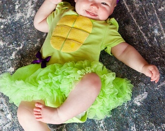 Ninja Turtle Lime Green Pettiskirt Dress With Headband Newborn To 18 Months - Halloween Outfit- Baby Halloween Outfit