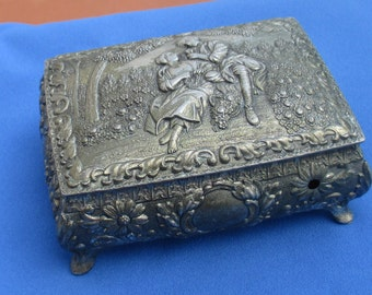 Vintage Metal Jewelry Casket Japan Romantic Scene TLC