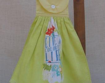 Saying Kitchen Hanging Towel / Live a Colorful Life / Kitchen Towel / Inspirational Towel / Yellow Kitchen Decor / Uplifting Gift / Handmade