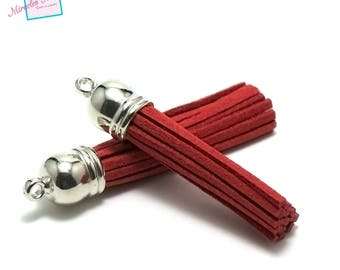 4 red 58 mm, silver, Bell suede tassels