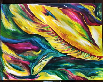 Feathered- Abstract Acrylic Painting OOAK