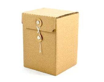KRAFT PAPER BOX (Set of 5 Boxes) - Corrugated Cardboard Kraft Box With String and Loop  (12cm x 8.5cm x 8.5cm)