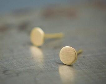 Small Gold Studs - 14k Gold Minimalist Earrings - Round Stud Earrings - Brushed Gold Earrings