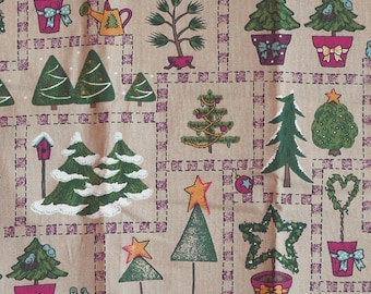 CHRISTMAS PRINT, Folk Art Trees on Tan, Quilting Cotton or Craft Fabric, Medium Wt, B11