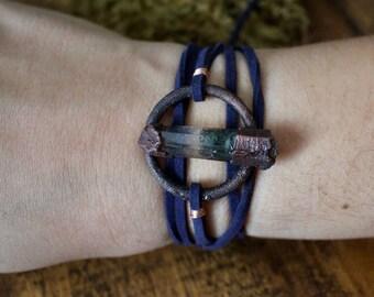 Garden Quartz Copper Wrap Bracelet   Choker   Lodolite Electroformed Copper with Vegan Navy Suede