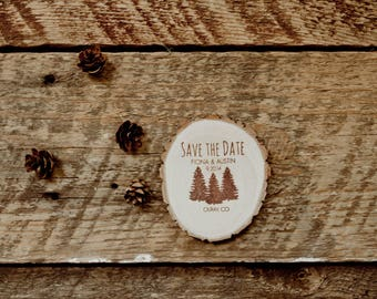 25  Rustic Pine Tree Save the Date Magnets