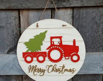 Merry Christmas Wreath - Tractor Christmas Door Hanger - Rustic - Farm - Country Christmas Decor