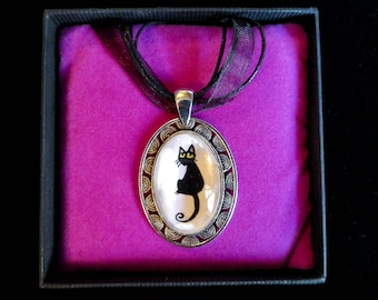 Claude the black cat  hand drawn pendant.
