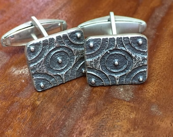 Rectangle Crop Circle Cuff Links