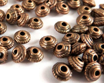 25 Antique Copper Spacer Tibetan Silver Saucer Bead 5mm Round 1.25mm hole LF/NF/CF - 25 pc - M7043-AC25