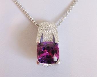 Vintage Modern Sterling Silver Amethyst Pendant Necklace