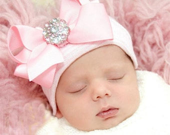 Beanie baby girl white newborn hat with white bow and diamond flowers pink and white Crystal