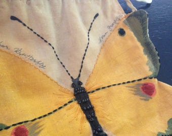 Artist Painted and Stitched Butterfly Handbag