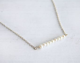 Petite straight pearl bar necklace, tiny pearl necklace, gifts for her, bridesmaids gifts, minimalist jewelry, pearl necklace, bar necklace