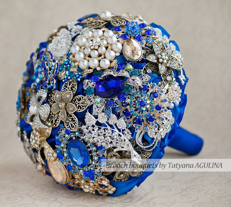 Royal Blue And Silver Wedding Flowers: Brooch Bouquet. Royal Blue Gold And Silver Crystal Brooch